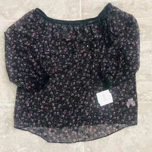 Ellen Tracy Black Fall Flowers-Nite Sky Sheer Top